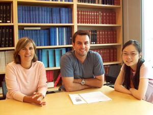 Some of the members of Dr. Karsan's lab studying MDS. Left to Right: Dr. Suzanne Vercauteren (former Hematopathology resident); Dr. Dan Starczynowski, post-doctoral fellow; Sandy Sung, technician.