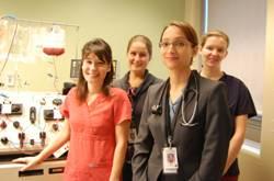 Some Apheresis Program Members: L-R: Erin Ames, Victoria LeBas, Dr Gayatri Sreenivasan, Stefanie Minnich