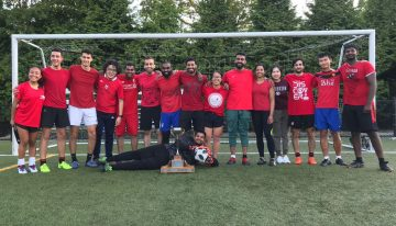 Blood Soccer team picture, posing with the trophy