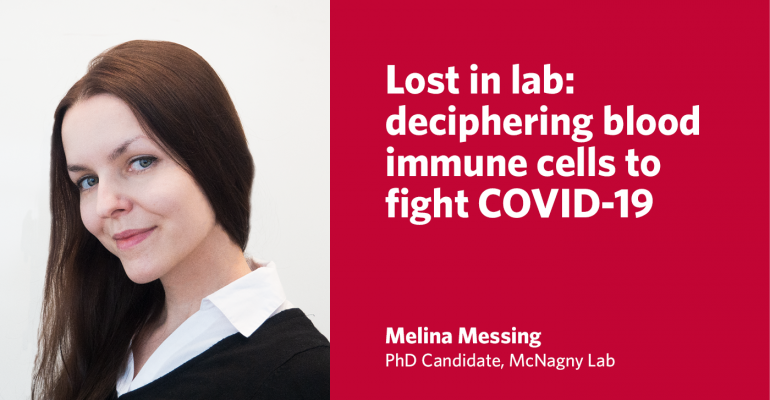 """Graphic with photo of McNagny Lab PhD Candidate Melina Messing and the title of her Lay Science Writing Competition entry: """"Lost in lab: deciphering blood immune cells to fight COVID-19"""""""