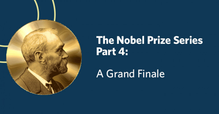 """Slide with a disk of Alfred Nobel's face, and text that reads """"The Nobel Prize Series Part 4: A Grand Finale"""""""