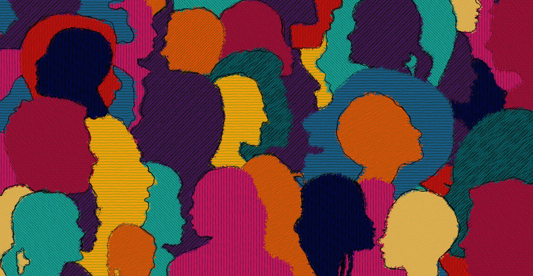 Colourful, diverse faces making up an abstract background
