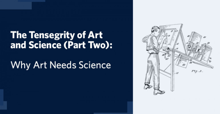 """Title card on blue background with title: The Tensegrity of Arts and Science (Part Two): Why Art Need Science."""" On the right there is a patent drawing of an original rotoscope, which was used to make early animations by tracing over live-action footage frame by frame."""