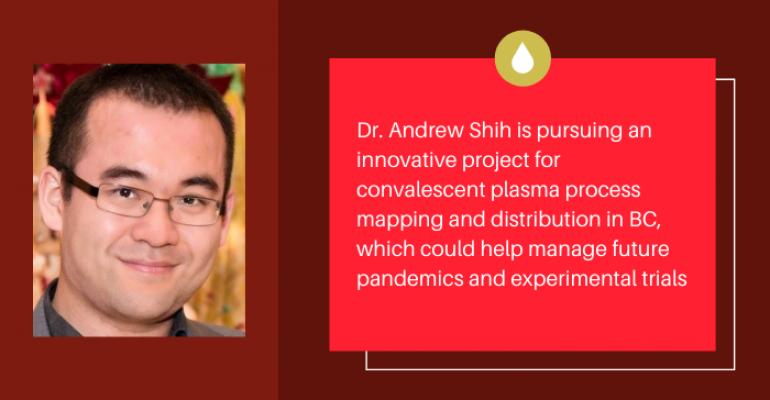 """Dr. Andrew Shih's bio photo on the left, text on the right with a stylized illustration of plasma that reads: """"Dr. Andrew Shih is pursuing an innovative project for convalescent plasma process mapping and distribution in BC, which could help manage future pandemics and experimental trials"""""""
