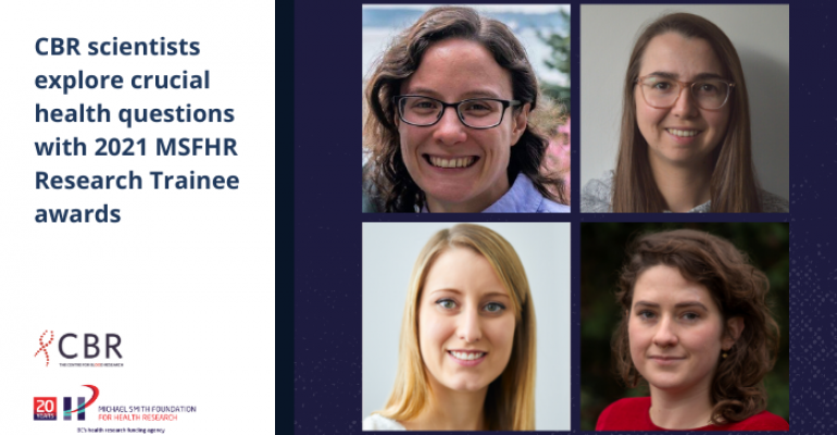 Bio photos of the MSFHR Research Trainee awardees (from top to bottom, left to right): Dr. Grace Cole, Dr. Julyanne Brassard, Dr. Katherine Badior and Dr. Anna Herrmann. The Michael Smith Foundation for Health Research's logo is on a white background, with an image celebrating the foundation's 20 years and a tagline that it is BC's health research funding agency