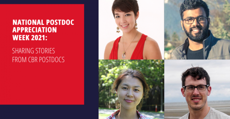 Title card for National Postdoc Appreciation Week 2021, with a collage of the four CBR postdocs highlighted in the piece, titled National Postdoc Appreciation Week 2021: Sharing the Stories of CBR Postdocs, in a 4-part collage: Dr. Alison McAfee, Dr. Alex Leatherdale, Dr. Emily Park, and Dr. Manoj Paul.