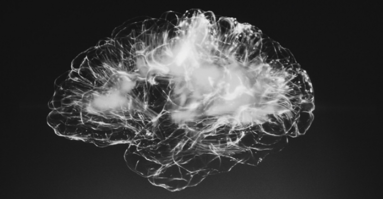 Black and white image of a brain. Credit: Unsplash.